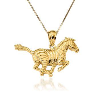 "14kt Yellow Gold Zebra Pendant Necklace. 18"", , default"