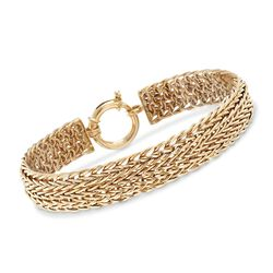 "14kt Yellow Gold Wide Wheat-Link Bracelet. 7"", , default"