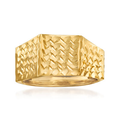 Italian 14kt Yellow Gold Diamond-Cut and Polished Ring, , default