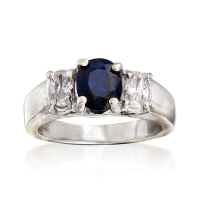 C. 1980 Vintage 1.10 Carat Sapphire and .50 ct. t.w. Diamond Ring in 14kt White Gold, , default