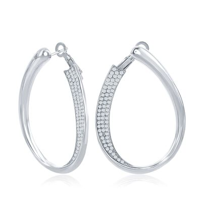 .65 ct. t.w. Pave CZ Front-Facing Oval Hoop Earrings in Sterling Silver, , default