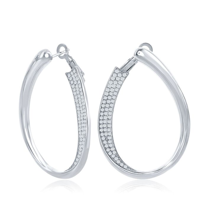 ".65 ct. t.w. Pave CZ Front-Facing Oval Hoop Earrings in Sterling Silver. 1 3/8"", , default"