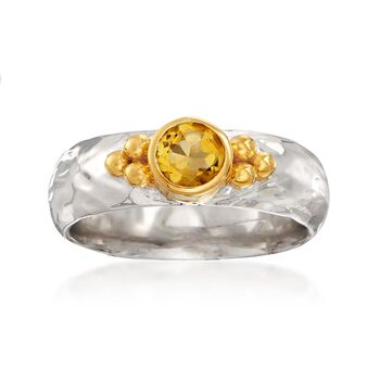 .40 Carat Citrine Ring in Two-Tone Sterling Silver, , default