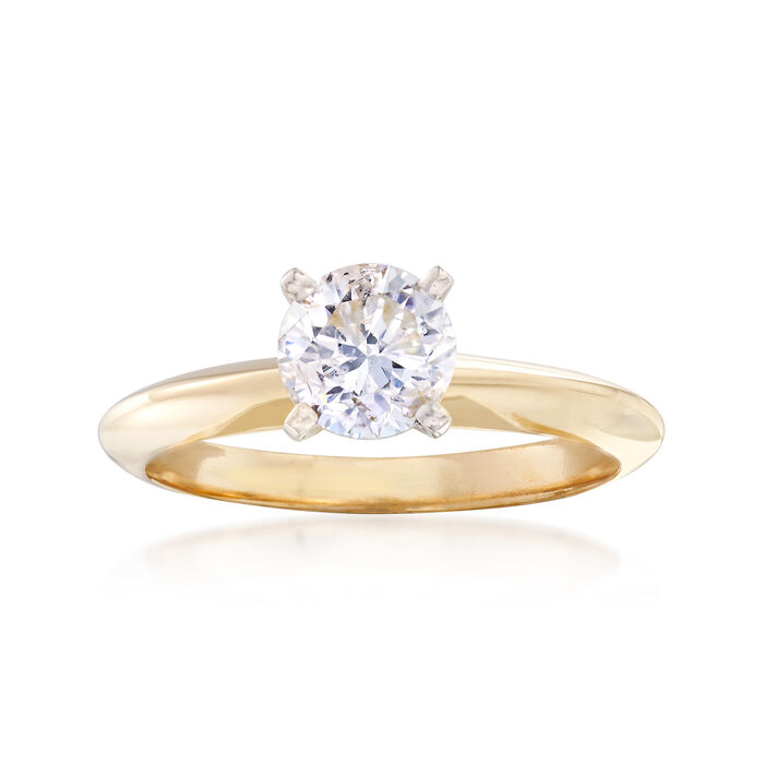 C. 2000 Vintage 1.00 Carat Diamond Solitaire Ring in 14kt Yellow Gold. Size 6