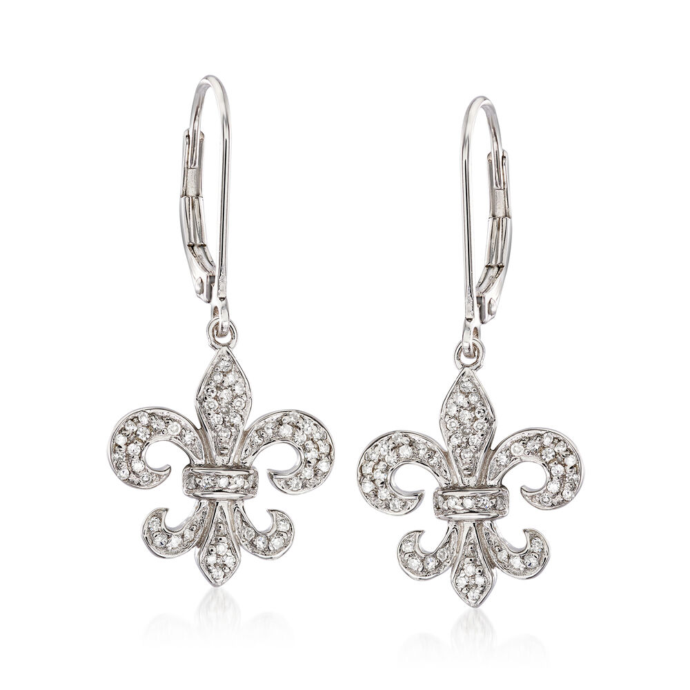 T W Diamond Fleur De Lis Drop Earrings In Sterling Silver