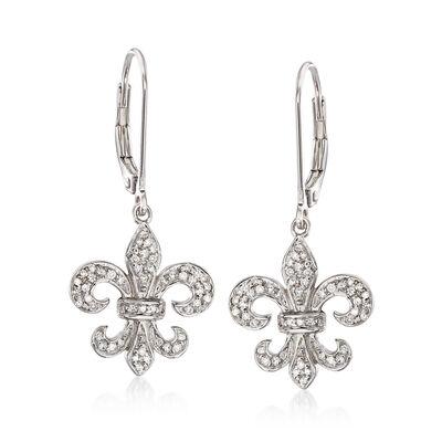 .28 ct. t.w. Diamond Fleur-De-Lis Drop Earrings in Sterling Silver, , default