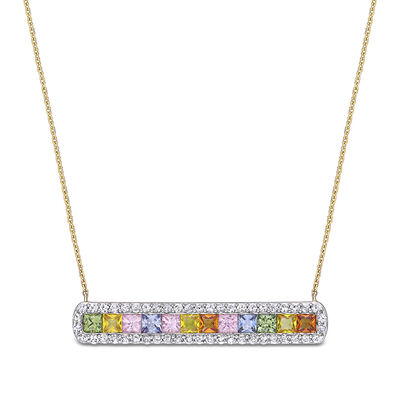 3.51 ct. t.w. Multicolored Sapphire Bar Necklace in 14kt Yellow Gold