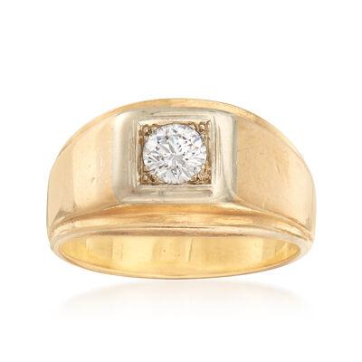 C. 1980 Vintage Men's .45 Carat Diamond Ring in 14kt Yellow Gold, , default