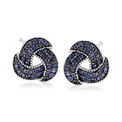 1.30 ct. t.w. Sapphire Love Knot Earrings in Sterling Silver