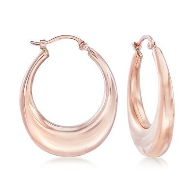 14kt Rose Gold Graduated Hoop Earrings, , default