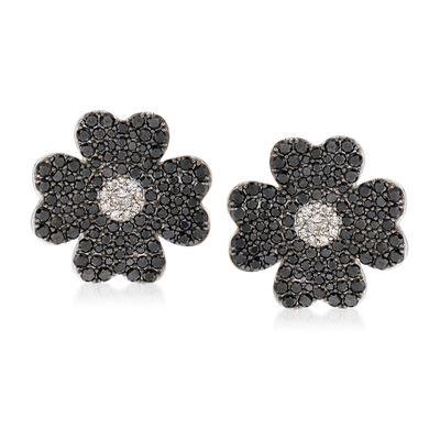 4.67 ct. t.w. Black and White Diamond Flower Earrings in 18kt White Gold, , default