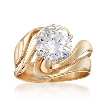 C. 1980 Vintage 2.15 Carat Diamond Solitaire Swirl Ring in 14kt Yellow Gold. Size 6.5, , default