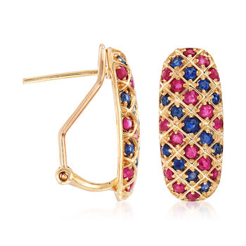 .90 ct. t.w. Ruby and .60 ct. t.w. Sapphire Drop Earrings in 14kt Yellow Gold
