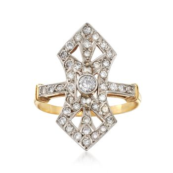 C. 1960 Vintage .75 ct. t.w. Diamond Open Dinner Ring in 18kt Yellow Gold. Size 6.5, , default
