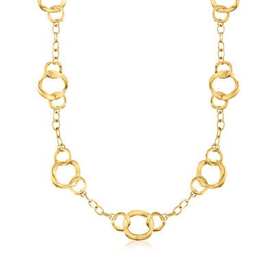Italian Andiamo 14kt Yellow Gold Mixed Link Necklace
