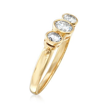 C. 1980 Vintage .60 ct. t.w. Diamond Bezel-Set Ring in 14kt Yellow Gold. Size 5