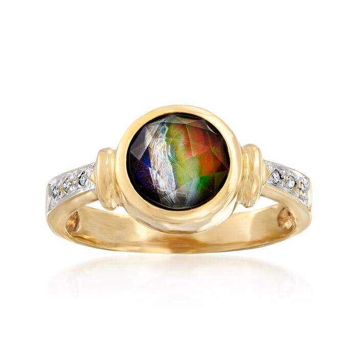 C. 1980 Vintage Green Ammolite Ring with Diamond Accents in 14kt Yellow Gold. Size 8, , default