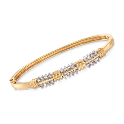 C. 1990 Vintage 1.00 ct. t.w. Diamond Two-Row Bracelet in 14kt Yellow Gold, , default