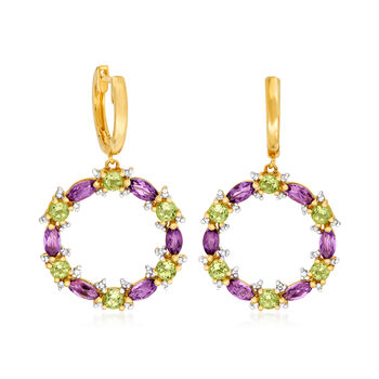 1.70 ct. t.w. Amethyst, 1.50 ct. t.w. Peridot and .18 ct. t.w. Diamond Circle Drop Earrings in 14kt Yellow Gold, , default