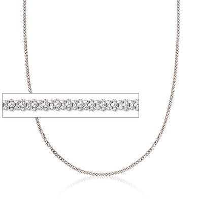 Italian 1.5mm Sterling Silver Adjustable Slider Popcorn Chain Necklace