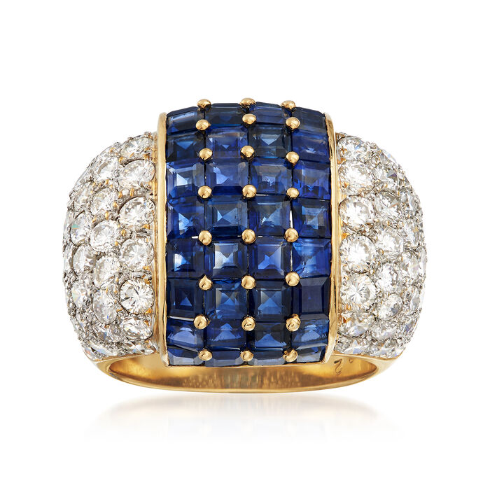 C. 1980 Vintage 4.82 ct. t.w. Sapphire and 2.17 ct. t.w. Diamond Ring in 14kt Yellow Gold. Size 6.5, , default