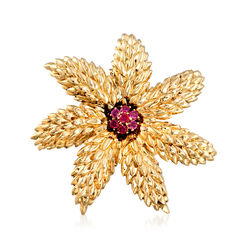 C. 1990 Vintage Tiffany Jewelry .45 ct. t.w. Ruby Flower Pin in 18kt Yellow Gold, , default
