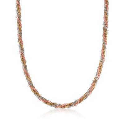 C. 1990 Vintage 14kt Tri-Colored Gold Twisted Mesh Necklace