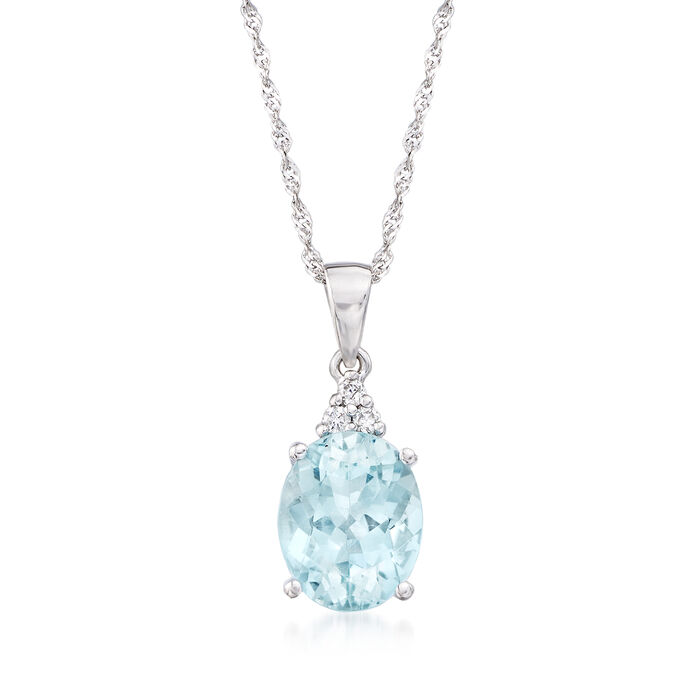 2.00 Carat Aquamarine Pendant Necklace with Diamond Accents in 14kt White Gold