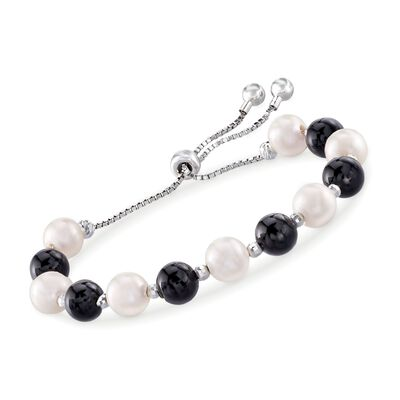 Black Onyx and 8-9mm Cultured Pearl Bolo Bracelet in Sterling Silver, , default