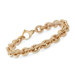 Italian 14kt Yellow Gold Textured Oval-Link Bracelet, , default
