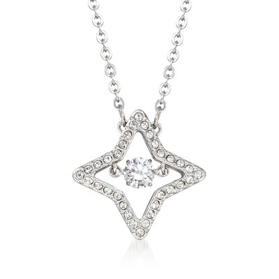 "Swarovski Crystal ""Sparkling Dance Star"" Crystal Star Pendant Necklace in Silvertone, , default"