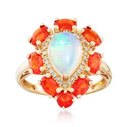 White and Orange Opal and .12 ct. t.w. Diamond Ring in 14kt Yellow Gold, , default