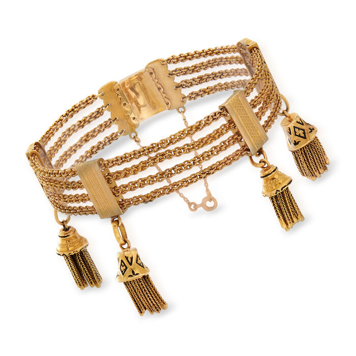 C. 1900 Vintage 18kt Yellow Gold Four-Chain Bracelet with Tassels and Enamel. 7.25""