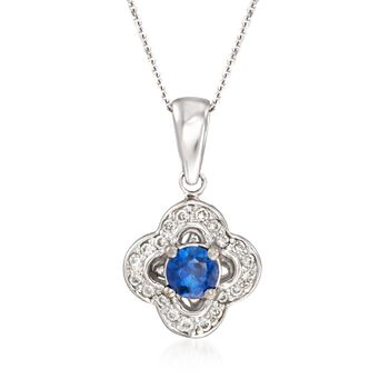 """.30 Carat Sapphire and .15 ct. t.w. Diamond Clover Pendant Necklace in 14kt White Gold. 16"""", , default"""