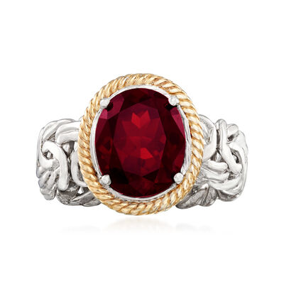3.40 Carat Garnet Byzantine Ring in Sterling Silver and 14kt Yellow Gold