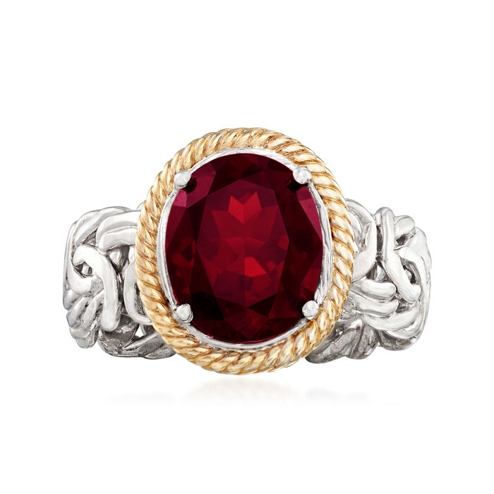 3.40 Carat Garnet Ring in Sterling Silver and 14kt Yellow Gold. Size 5