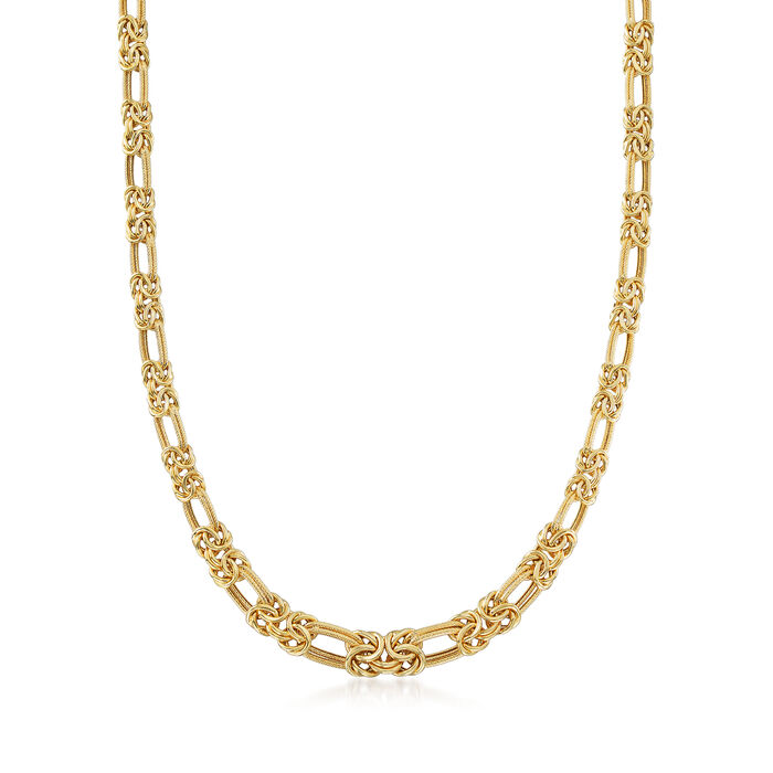 14kt Yellow Gold Byzantine and Double-Link Necklace
