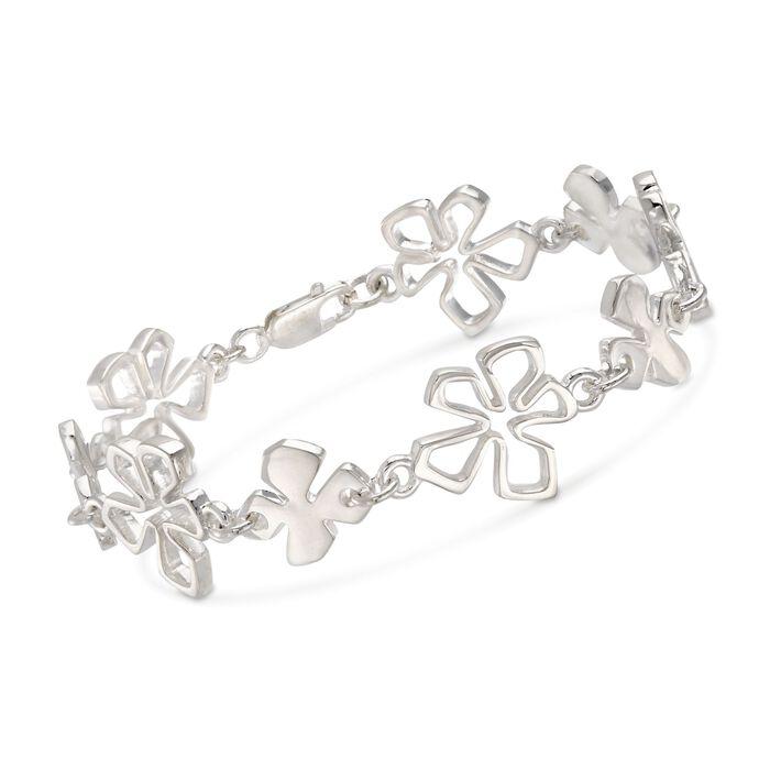 """Zina Sterling Silver """"Tiki"""" Multi-Flower Bracelet. 7.5"""""""