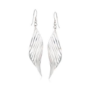 Italian Sterling Silver Leaf Earrings, , default
