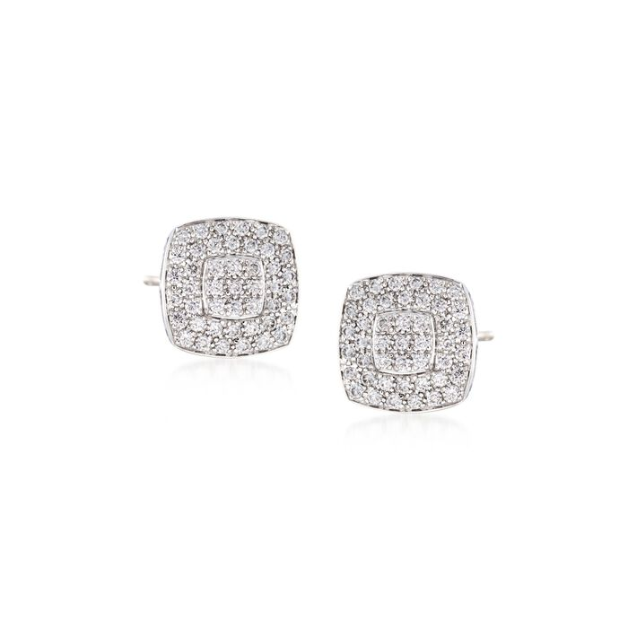 """ALOR """"Classique"""" .75 ct. t.w. Diamond Square Stud Earrings in Stainless Steel and 18kt White Gold"""