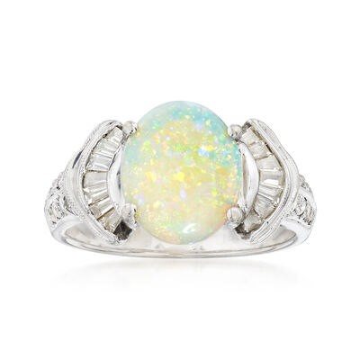 C. 2000 Vintage Opal and .50 ct. t.w. Diamond Ring in 18kt White Gold, , default