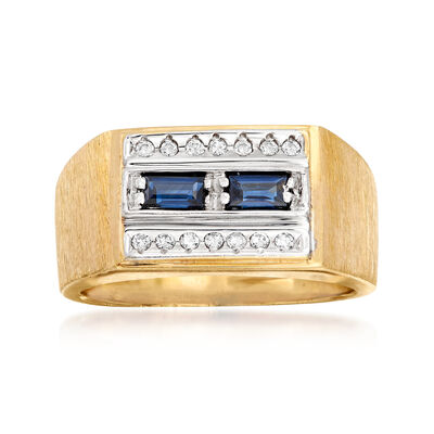 C. 1970 Vintage Men's .40 ct. t.w. Sapphire and .15 ct. t.w. Diamond Ring in 14kt Yellow Gold, , default
