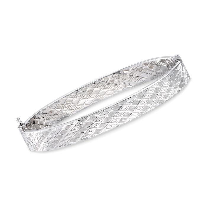 Italian 14kt White Gold Geometric-Pattern Bangle Bracelet, , default