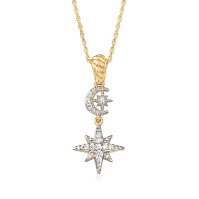 .20 ct. t.w. Diamond Star and Moon Necklace in 18kt Yellow Gold Over Sterling Silver, , default