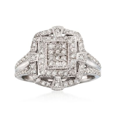 .78 ct. t.w. Diamond Vintage-Style Ring in Sterling Silver, , default