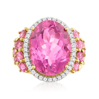 11.00 Carat Pink Topaz Ring with 1.10 ct. t.w. Pink Tourmaline and .21 ct. t.w. Diamonds in 14kt Yellow Gold