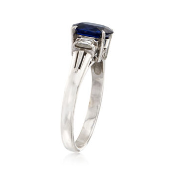 C. 1990 Vintage 1.41 Carat Oval Sapphire and .28 ct. t.w. Diamond Ring in Platinum. Size 6, , default