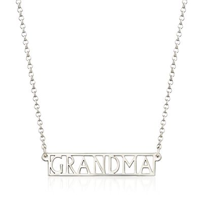 "Sterling Silver ""Grandma"" Bar Necklace, , default"
