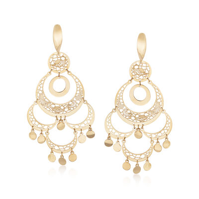Italian 14kt Yellow Gold Multi-Circle Chandelier Drop Earrings, , default