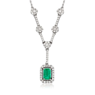 .60 Carat Emerald and .60 ct. t.w. Diamond Y-Necklace in 14kt White Gold